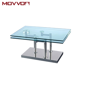Manufacturer best offer rectangular glass and ceramic top coffee table with motion