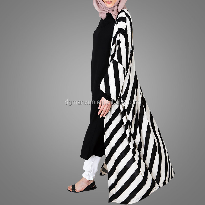 Fashionable Black and White Stripe Plus Size Open Abaya Long Kimono Design Dubai Abaya WomenThobe