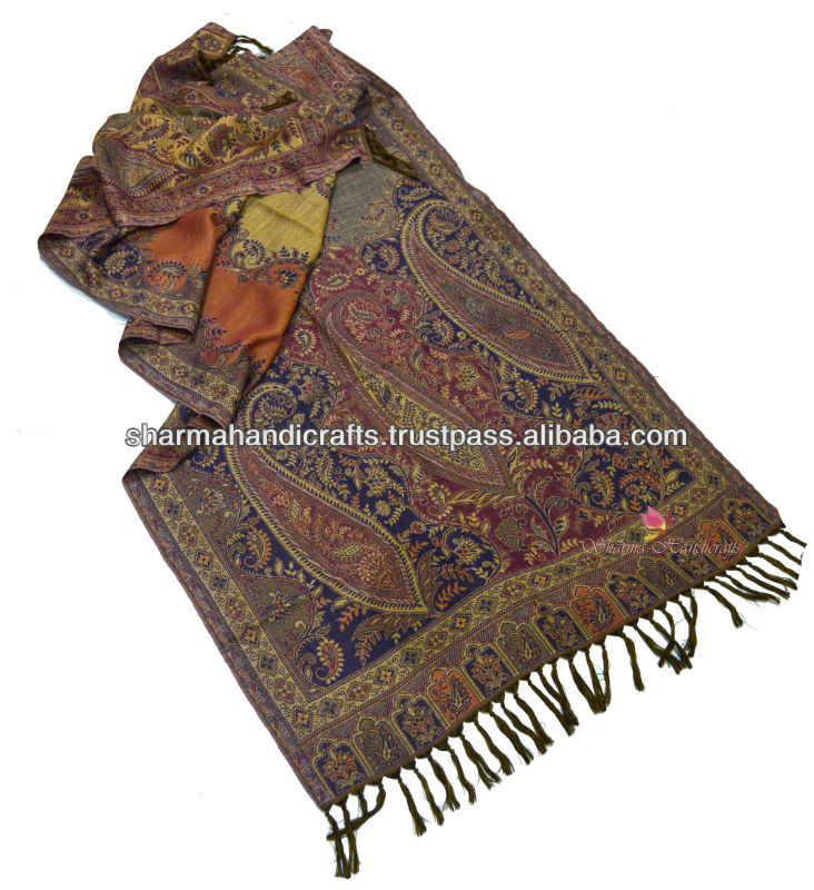 jamavar jacquard wool shawl from India