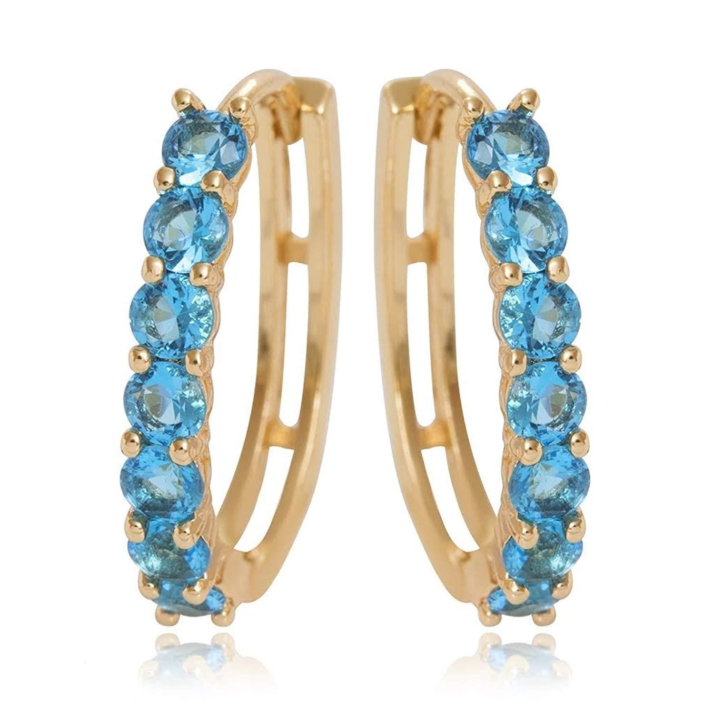 876aecb09 Get Quotations · Olenata Gold Hoop Earrings for Women - Cubic Zirconia  Earrings - Gold Plated Earrings - Cute