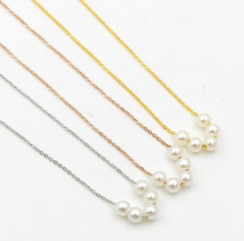 2020 new Korean simple five pearl chain necklace women's rose gold short charm Collarbone chain