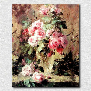 Chinese Rose Oil Painting By Handmade Wall Art Canvas Flower Paintings
