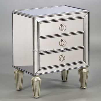 Por 3 Drawers Antique Venetian Mirror Bedside Tables