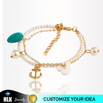 Anchor Charms Pearl Bracelet Hong Kong Jewelry Whole