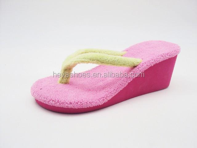 75a18f634 Fuzzy Womens Flip Flops Sandal Soft Terrycloth Thongs Platform Wedge Heel