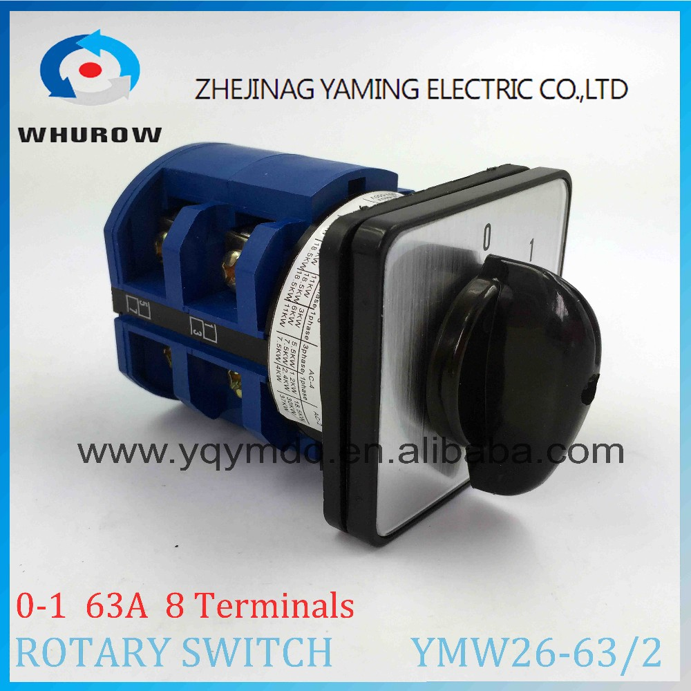 Cam switch YMW26-63/2 Ui 690V Ith 63A 2 poles 2 Positions 0-1 on-off 8 Terminals selector changeover rotary switch sliver
