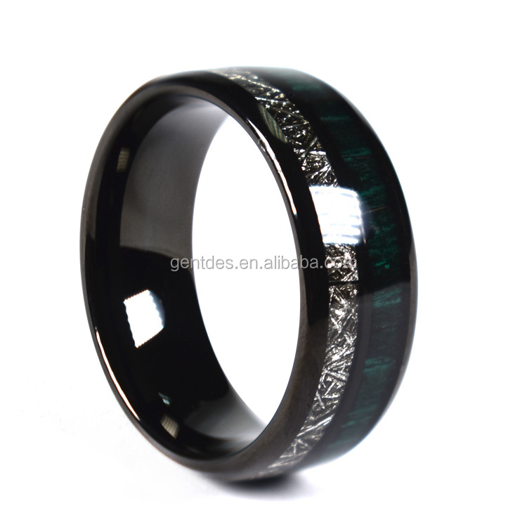Green Carbon Fiber Meteorite Wedding Ring for Men 8mm