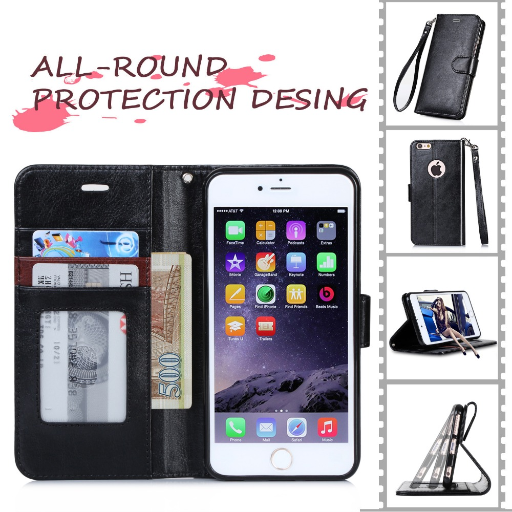 Wholesale Classical Design Multi Colors Wallet Case With Hand Strap Smart PU Mobile Phone Case For iPhone 6S 4.7inch