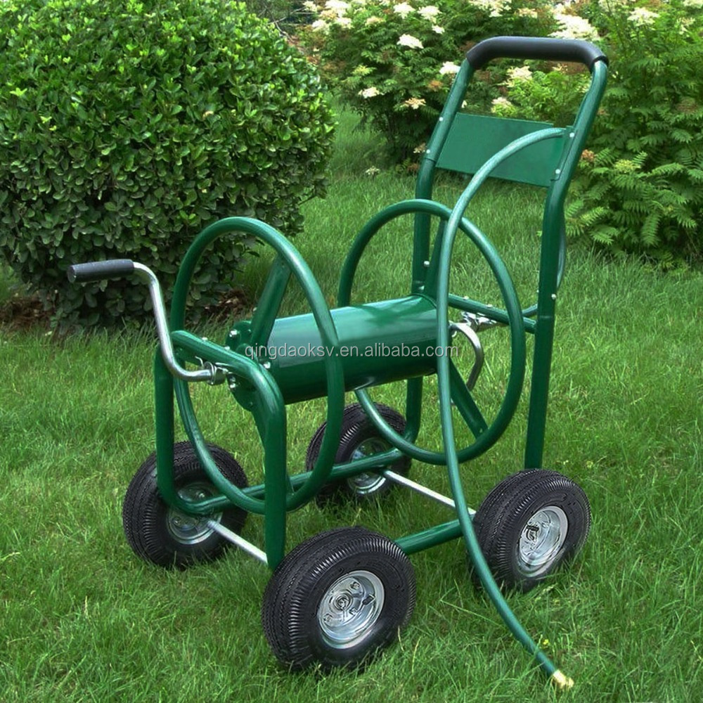 Garden cart four wheel metal hose reel cart 80m buy hose for Garden tools for 4 wheeler