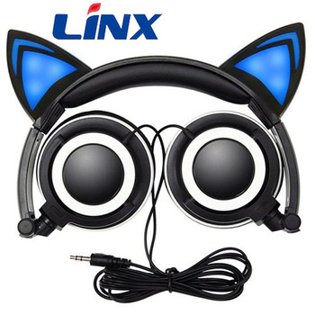 Best noise reduction wired led lights cat ear headphones for kids, fans