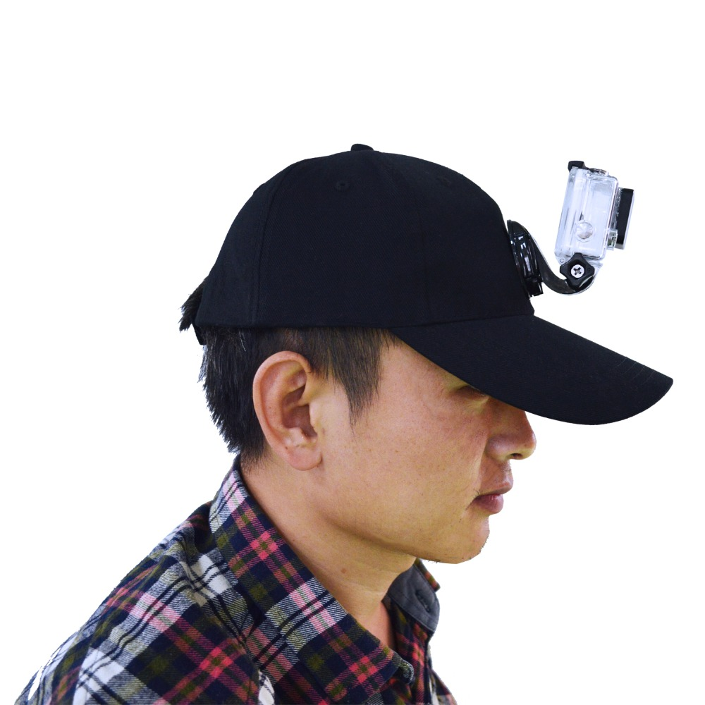 Black sport gopros hat mount with camera connection base mount fits for Gopros ,Sjcam,Xiao yi,Mi