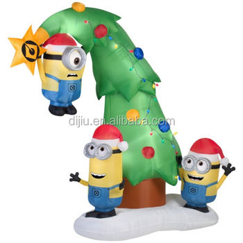 outdoor decoration three happy minions hanging inflatable christmas tree - Minion Outdoor Christmas Decorations