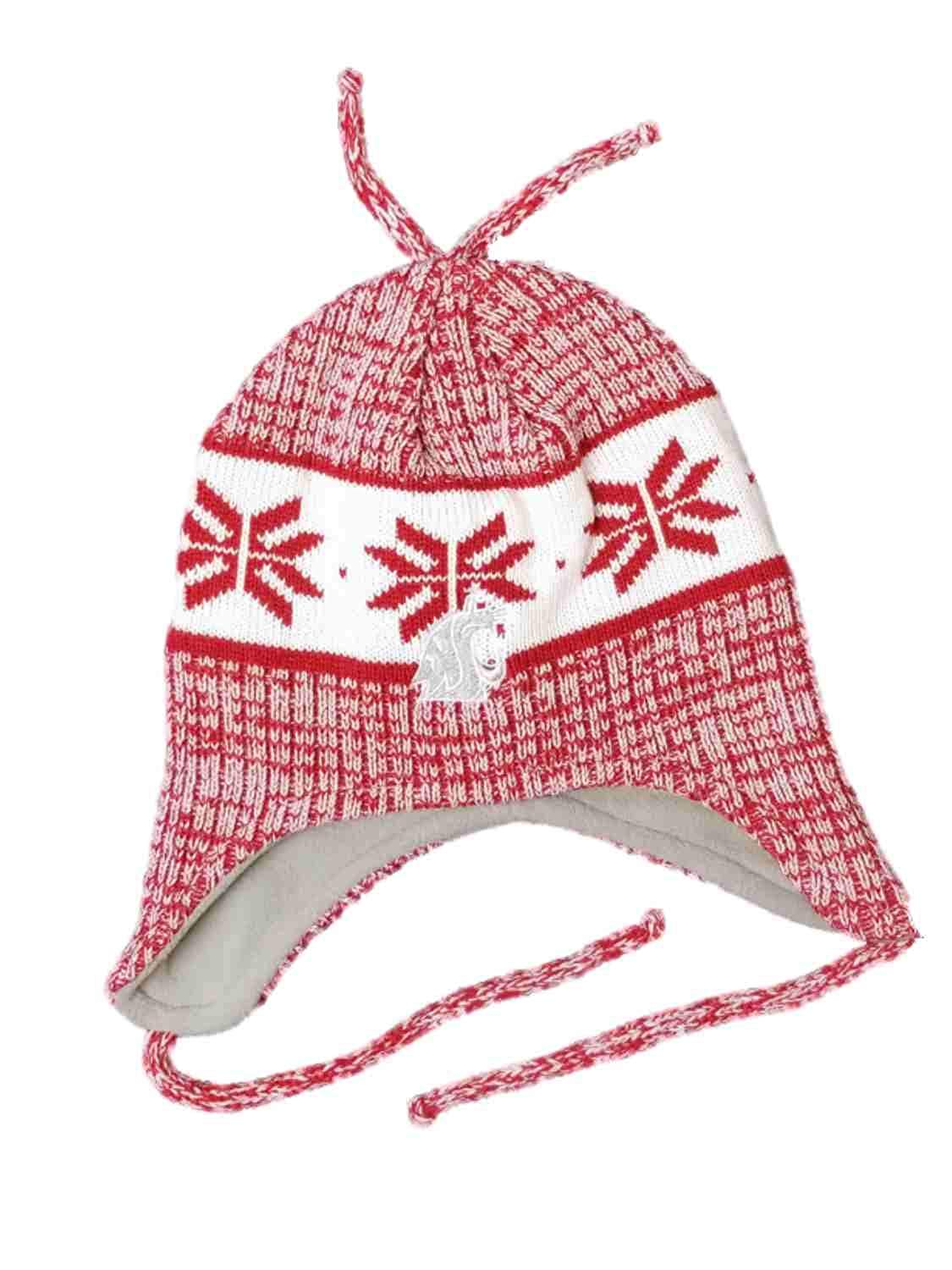 d9bbbb47339 Get Quotations · Fan Favorite Men s White with Maroon WSU Washington State  University Trapper Beanie Stocking Cap Hat
