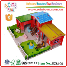 Wooden Farm Playset With 11 Accessories,Educational Bao Toys