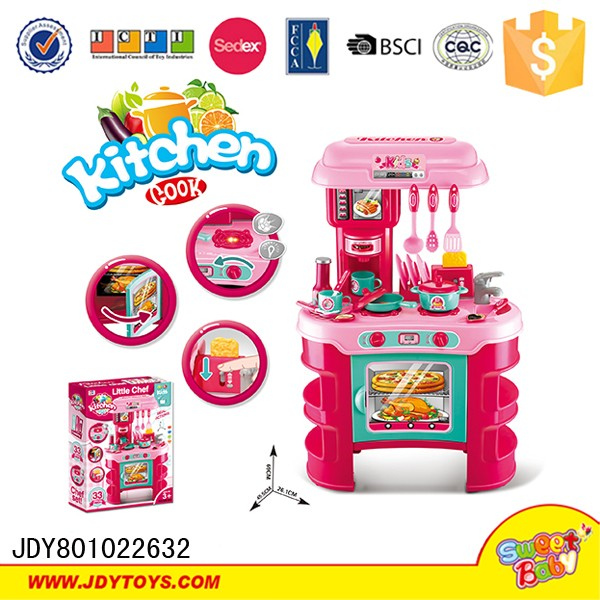 New design xiongcheng pink cooking childs kitchen toy set for Kitchen set video song