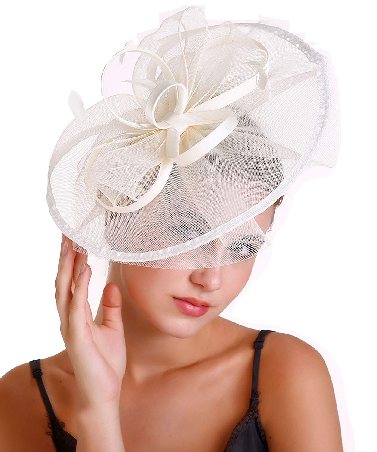 048a8470 Get Quotations · Women Derby Fascinator Hat,Tea Party Hats Mesh Feathers  Cocktail Fascinators Headband/Hair Clip