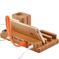 Newest Design 3 in 1 Bamboo Wood USB Charging Docking Station with Nightstand Mode, Desk Stand Charger
