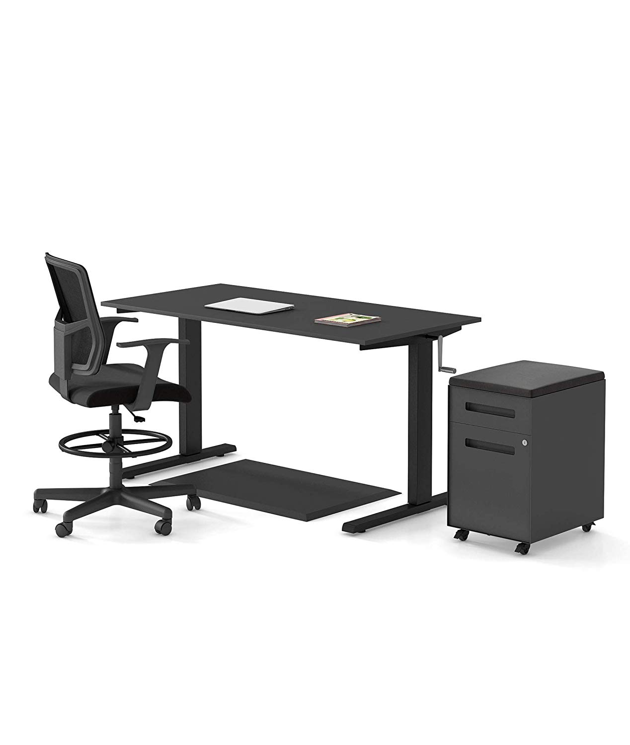 "Crank Stand up Desk Standard Bundle – Includes a Standing Desk/Height Adjustable Desk, 2 Drawer File Cabinet/Rolling File Cabinet, Anti Fatigue Mat, and Drafting Chair (60"") (Black)"