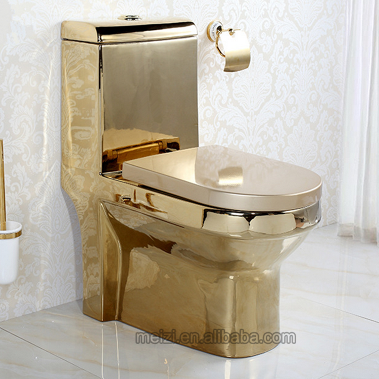 Luxury Design One Piece Gold Toilet Bowl Malaysia Price