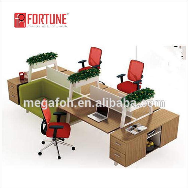 Neueste Stilvolle Design 3 Person Workstation Schreibtisch Mit Sofa