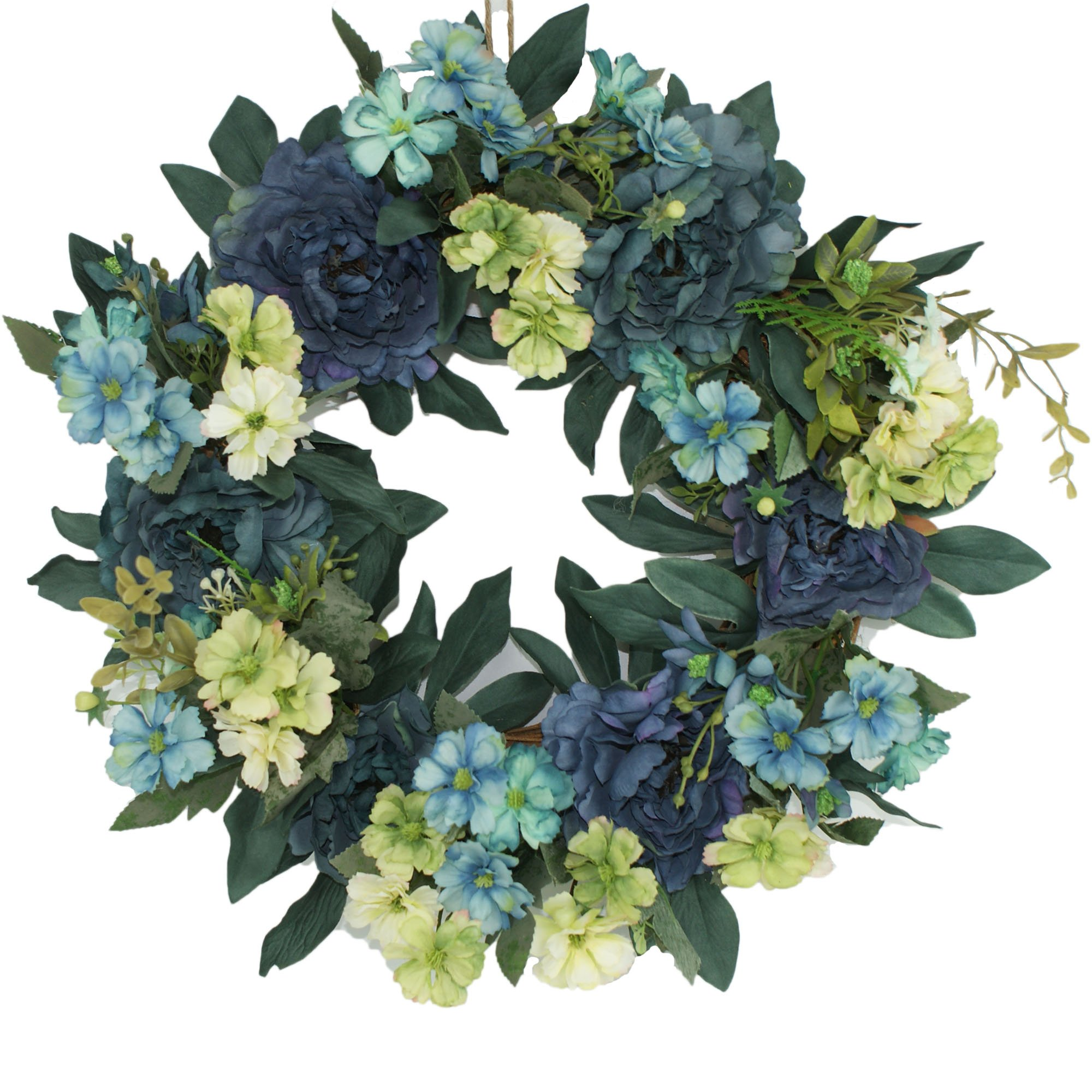 Emlyn Silk Summer Door Wreath 16 Inch -Handcrafted On A Grapevine Wreath Base- Blue And Purple Tones