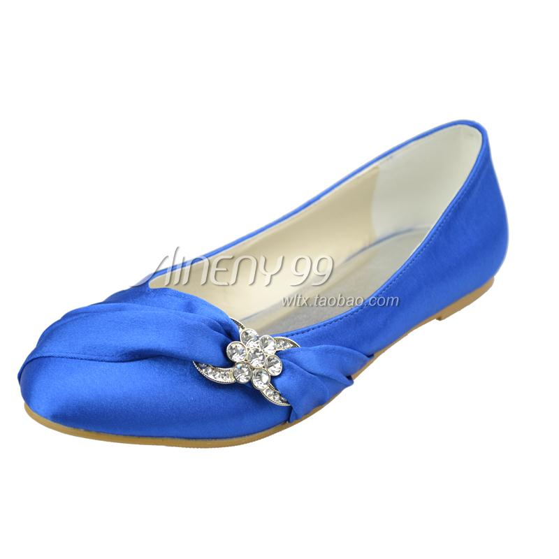 Blue Rhinestone Flat Shoes
