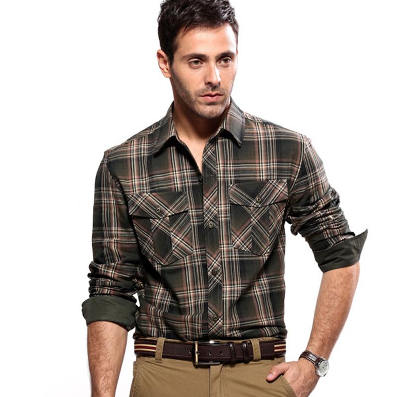 35d623b9e5 Get Quotations · mens long shirts fashion 2014 mens flannel plaid shirts  Autunm luxury slim Brand Formal Business Dress