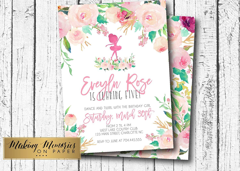 Dance Birthday Invitation, Ballerina Birthday Invitation, Dance Baby Shower, Watercolor, Pink Floral, Printable Birthday, first birthday, flowers, pink flower, invitation, TuTu,