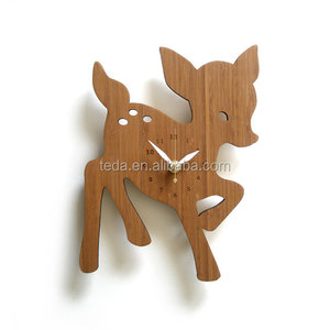 Wooden Fawn Wall Clock Perfect for Kids Room Decor and Gift idea