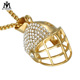 316 L Stainless Steel Gold Plated Crystal American Football Helmet Pendant Necklace