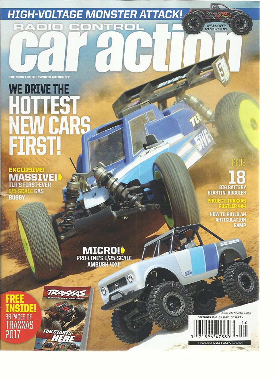 RADIO CONTROL CAR ACTION MAGAZINE, DECEMBER, 2016 HOTTEST NEW CARS FIRST !