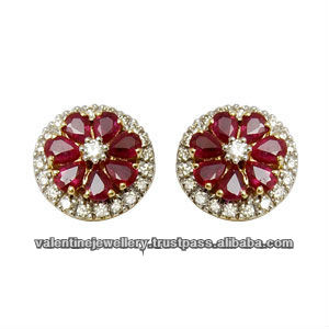 Genuine Ruby Stud Earrings Diamond And India Pear Shaped In Flower