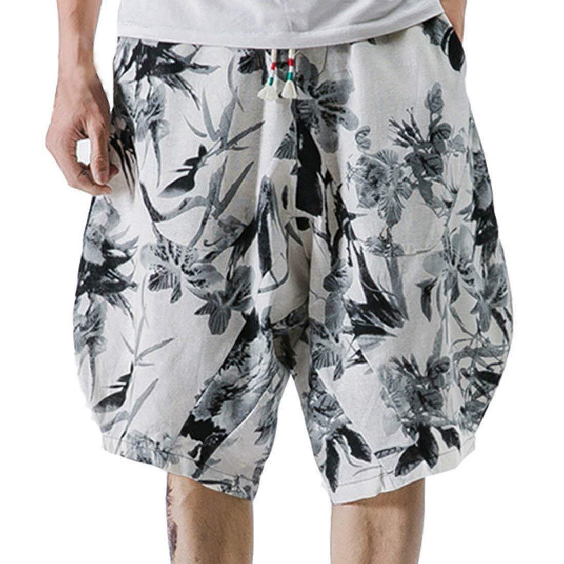 Hzcx Fashion Men's Printed Drop Crotch Cotton Linen Elastic Waist Casual Shorts