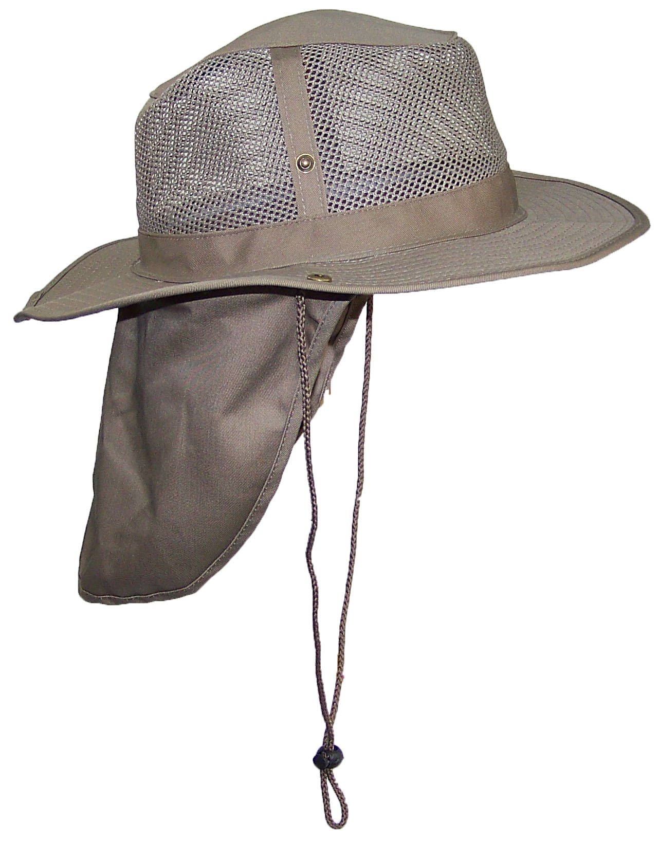 Buy Tropic Hats Kid Child Wide Brim Mesh Summer Hat with Neck Flap ... a8f2b322c860