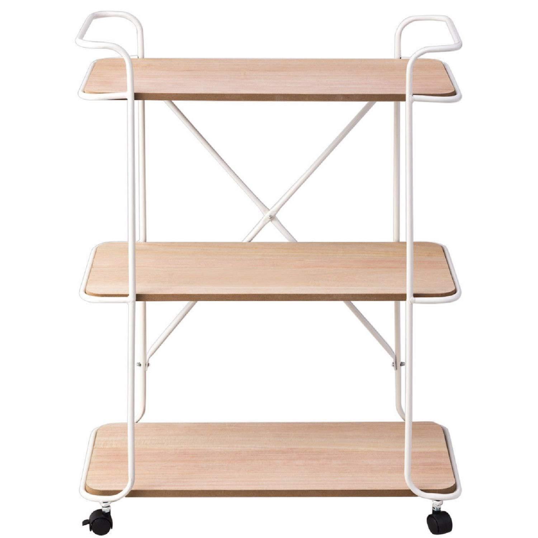 3-Tier Metal Utility Rolling Cart Storage Rack Shelves - White by SpiritOne
