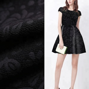 Formal black wool peach knit natural fabric dye of jacquard for women dress
