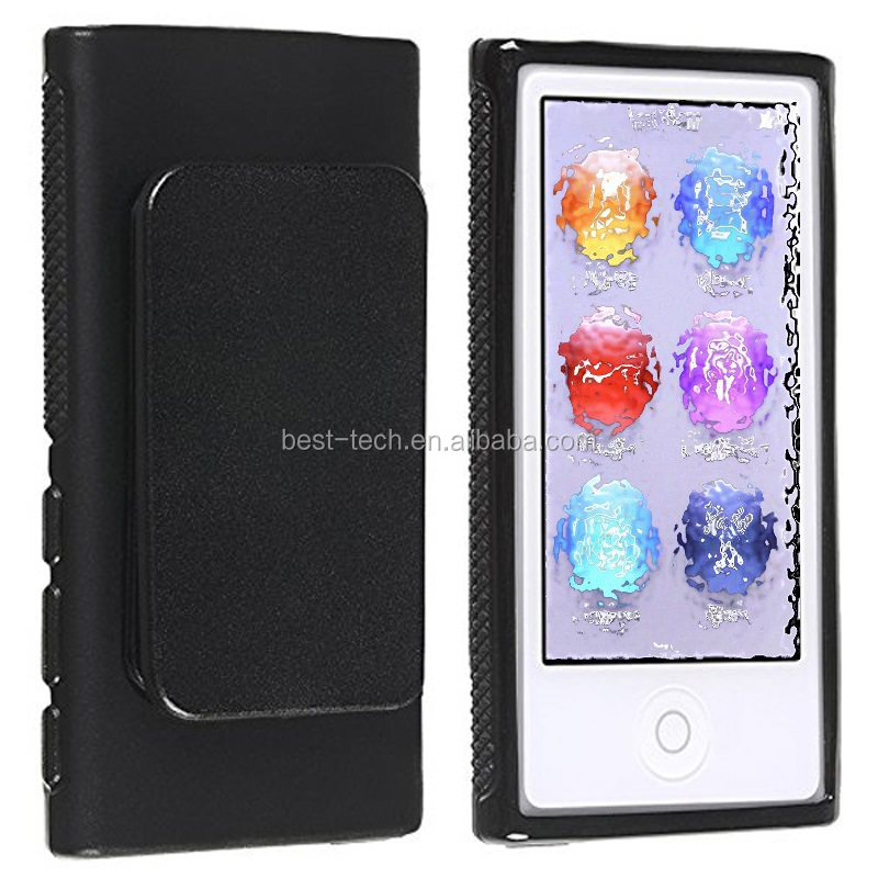 Belt Clip TPU Rubber Skin Case Cover for Apple iPod Nano 7th Generation 7G 7