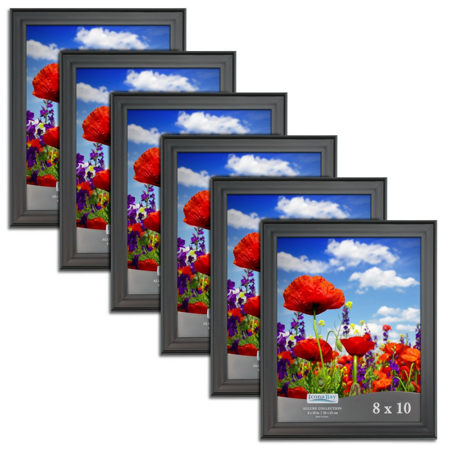 Icona Bay 8x10 Picture Frames (8 x 10, 6 Pack, Black) Bulk Set, Wall Mount or Table Top, Display Black Picture Frame Horizontal or Vertical, Allure Collection