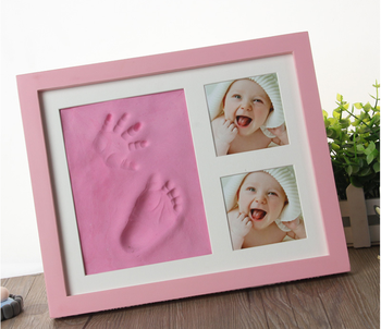 Baby Handprint Kit por Baby Picture Frame & Non Toxic CLAY! Bebê pegada kit, perfeito para presentes do bebé, e Baby Girls Presentes!