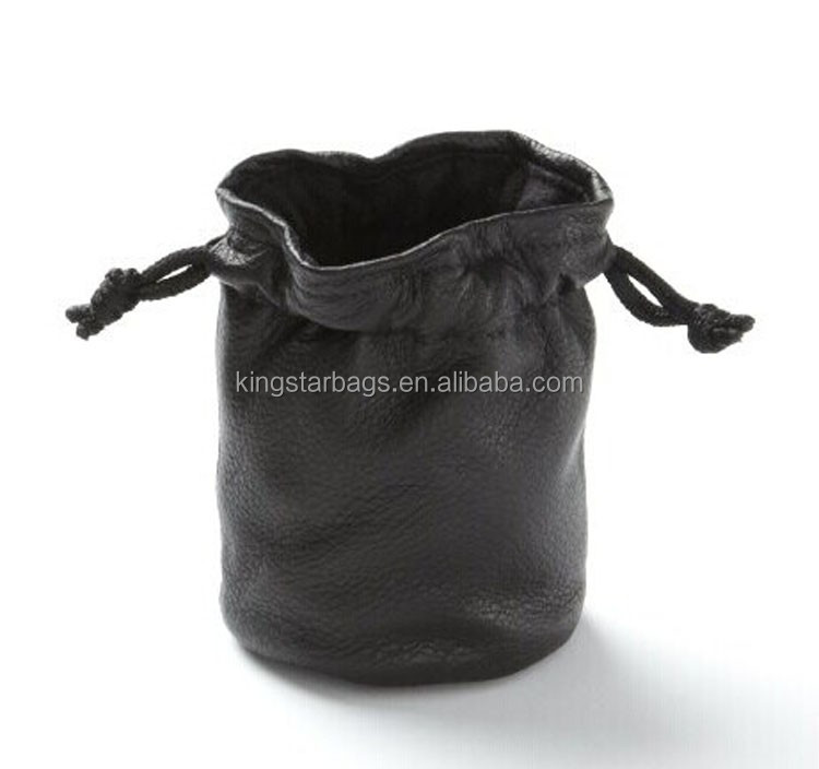Small leather drawstring bag