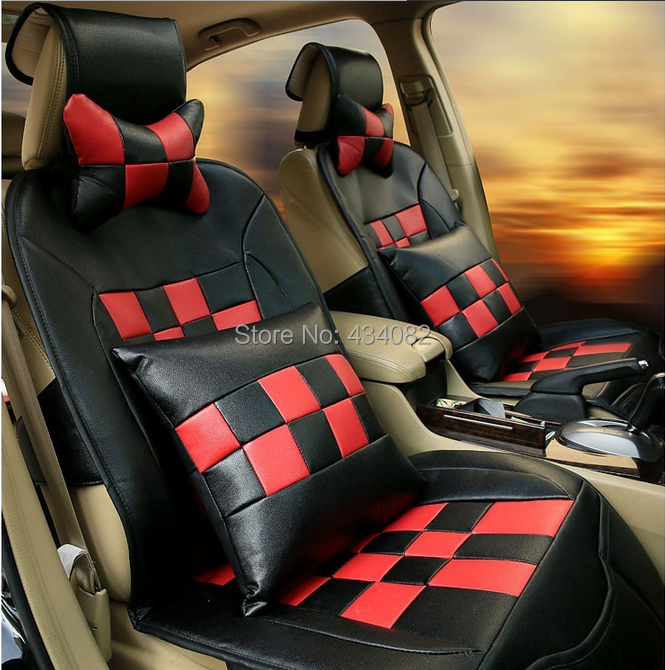 car covers luxury soft manual leather checkerboard big lattice car seat cover for chevrolet. Black Bedroom Furniture Sets. Home Design Ideas