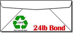 "Desktop Publishing Supplies, Inc. 100% Recycled White #10 Envelopes - 100 Envelopes - Eco Friendly - 4 1/8"" x 9 1/2"" Size"