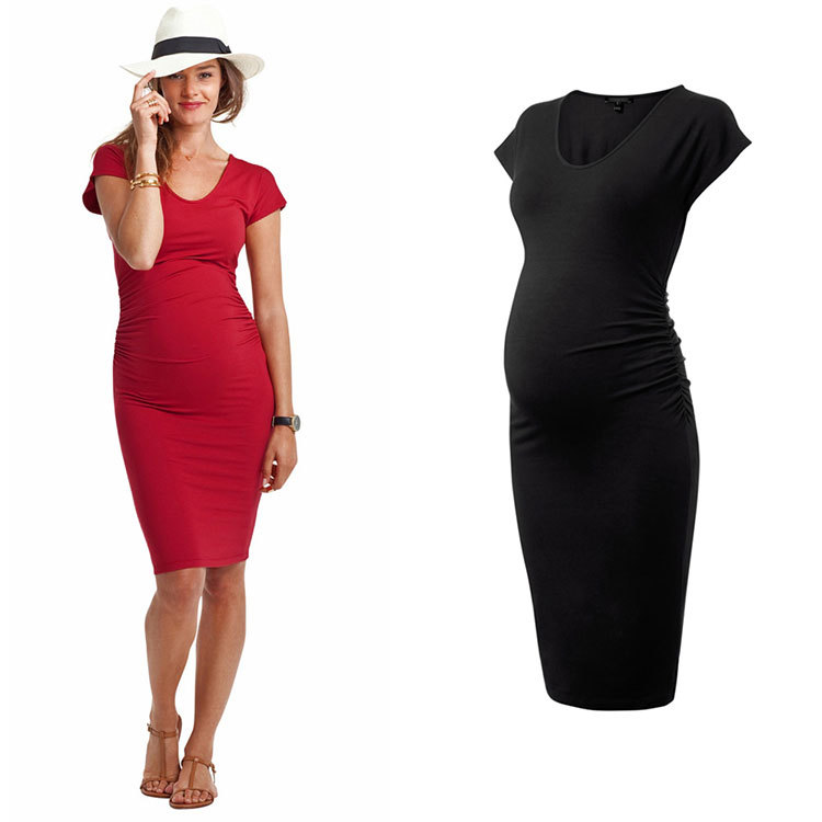 1f34632f9e2dd Buy Women's Fashion Maternity Dress Tunic Short Cup Sleeve Nursing O- Neck Sexy Stretchy Breath Bodycon Pregnant Dresses High Elastic in Cheap  Price on ...