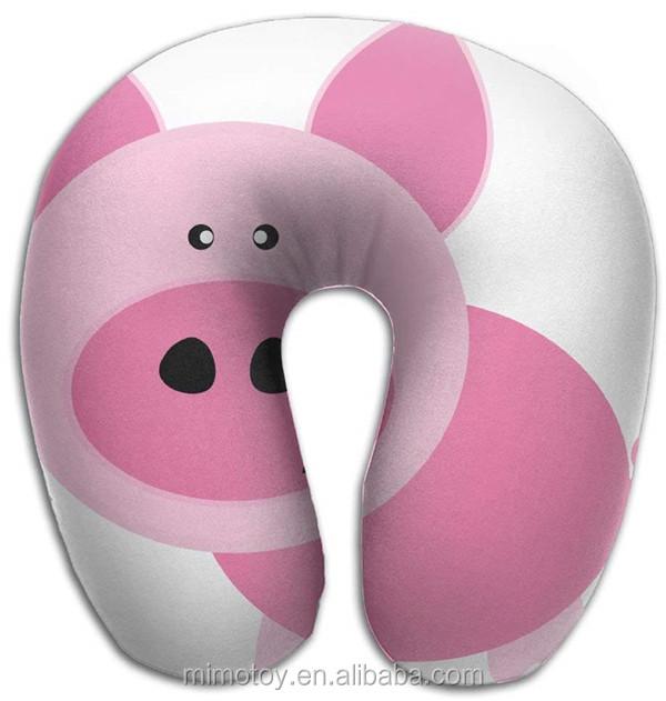 شخصية مضحك أفخم لعبة لينة خنزير تصميم U شكل وسادة مع microbean مخصص OEM الحيوان السفر الطفل الرقبة وسادة