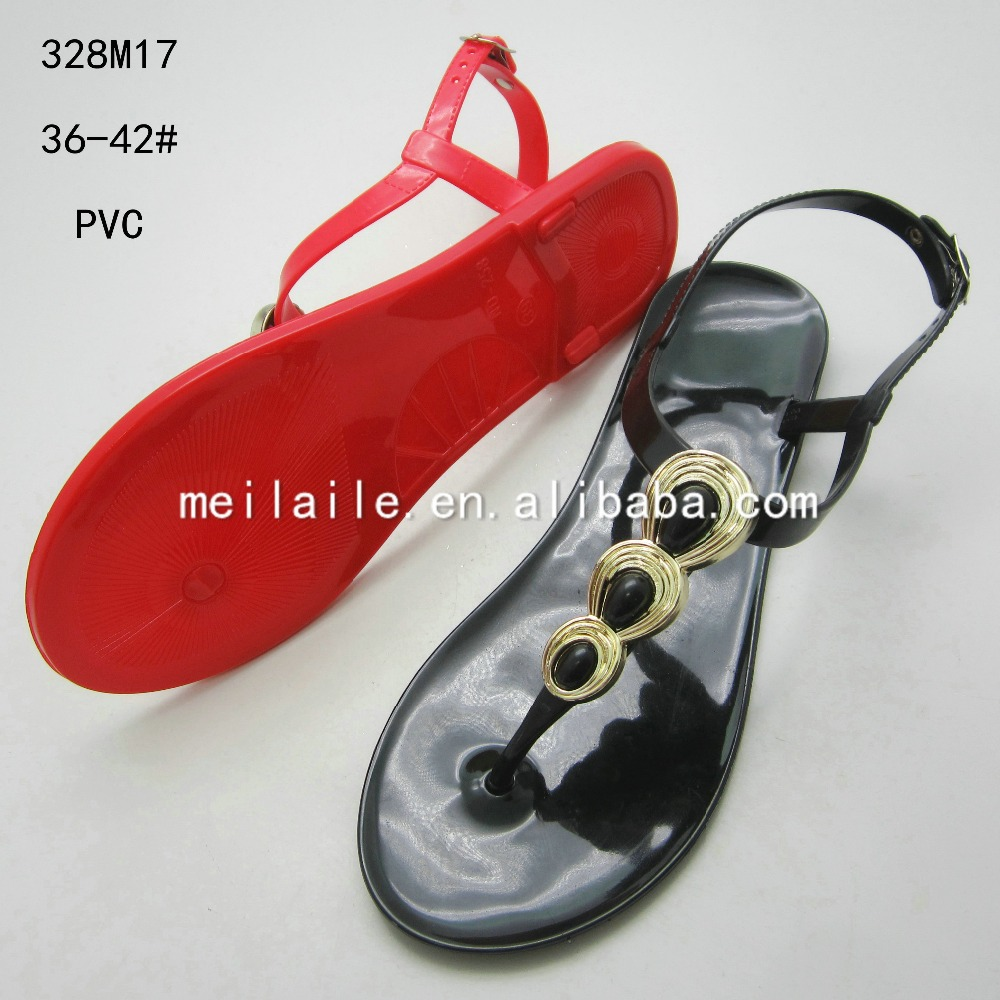 The golden border plastic jewel decorated female jelly sandals