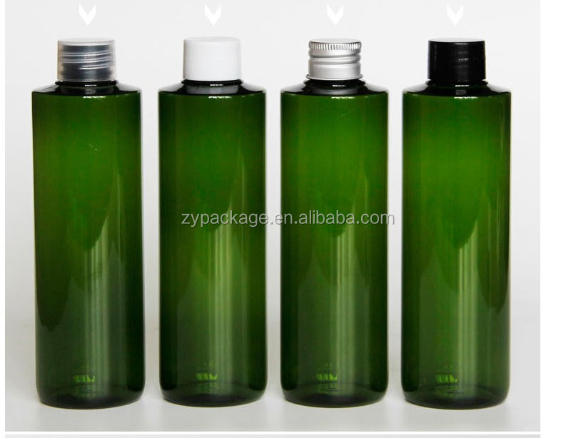 100ML PET Green Plastic bottle with plug and screw cap PET cosmetic bottle 50ml 100ml 150ml 200ml hotel shampoo packing bottle
