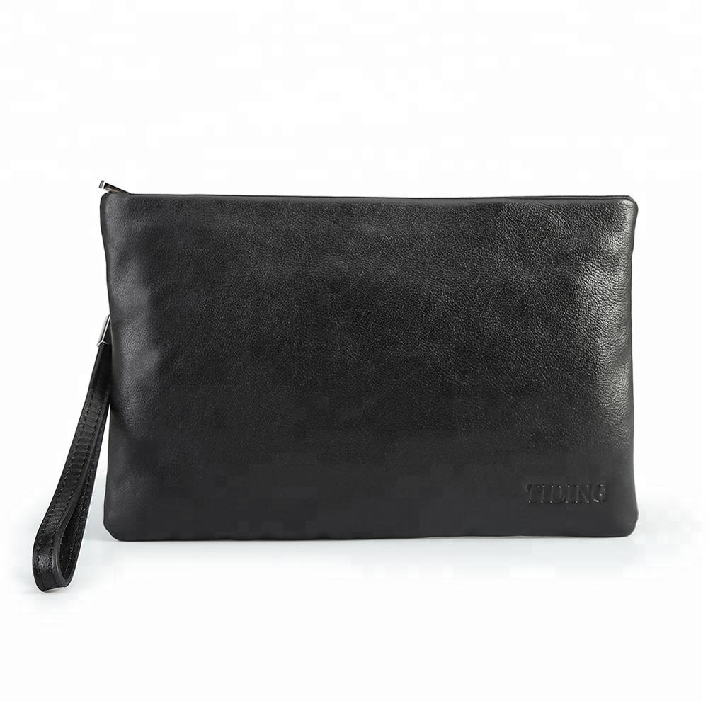 방수 Black Genuine Leather 팔찌 Clutch Bag 봉투 백 대 한 men