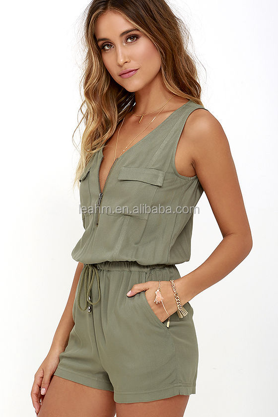 Guangzhou Supplier Fashion green sexy summer rompers jumpsuits women 2017