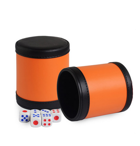 Customized orange color leather surface dice cup OEM size color material