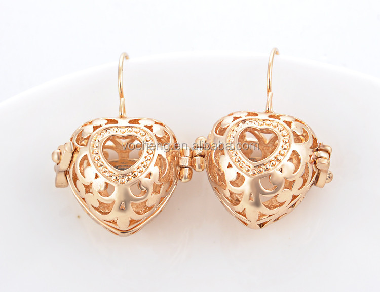 Wholesale 10set/lot 3 Colors Brass Metal VOCHENG pregnancy ball Earring VOCHENG Angel ball Earring (VA-107*10) Free Shipping